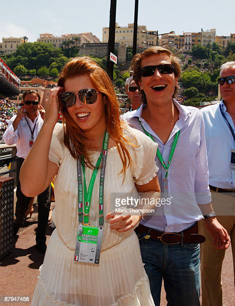 Princess Beatrice and her boyfriend Dave Clark are seen in the pitlane before the Monaco Formula One Grand Prix at the Monte Carlo Circuit on May 24...
