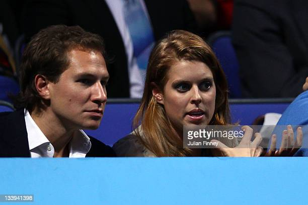 Princess Beatrice and her boyfriend Dave Clark watch the men's singles match between Roger Federer of Switzerland and Rafael Nadal of Spain during...