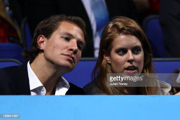 Princess Beatrice and her boyfriend Dave Clark watches the men's singles match between Roger Federer of Switzerland and Rafael Nadal of Spain during...