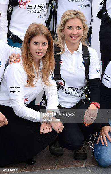 Princess Beatrice and Holly Branson attend a photocall to launch the Virgin STRIVE Challenge held at the 02 Arena on April 30 2014 in London England