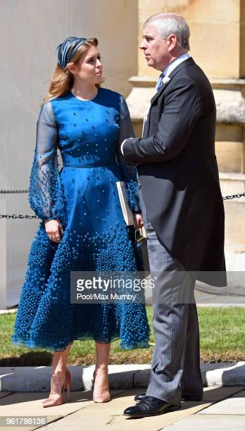 Princess Beatrice and Prince Andrew Duke of York attend the wedding of Prince Harry to Ms Meghan Markle at St George's Chapel Windsor Castle on May...