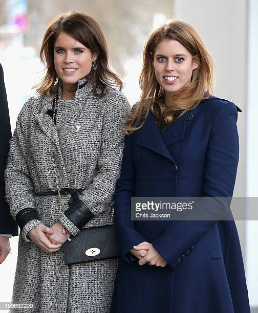 Princess Beatrice and Princess Eugenie arrive to call on Minister David McAllister of Lower Saxony on January 18, 2013 in Hanover, Germany. The royal...