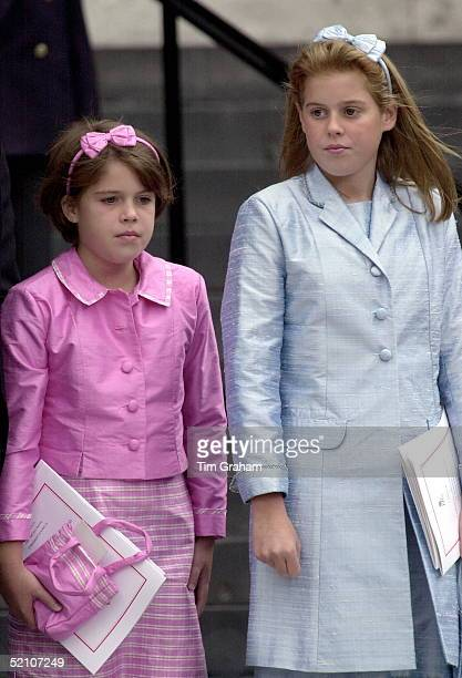 Princess Beatrice And Princess Eugenie At A Thanksgiving Service At St Paul's Cathedral For The 100th Birthday Of The Queen Mother
