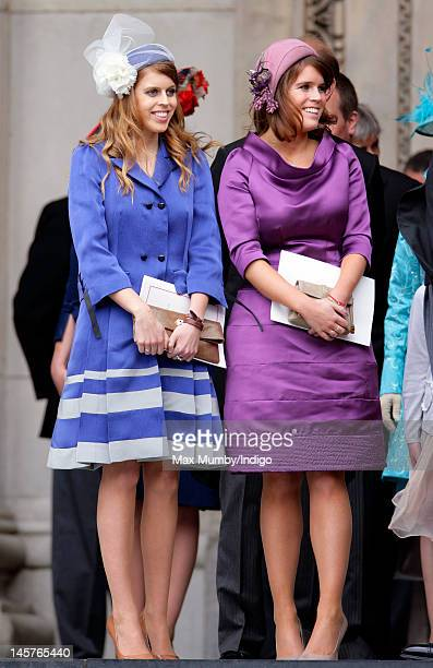 Princess Beatrice and Princess Eugenie attend a Service of Thanksgiving to celebrate Queen Elizabeth II's Diamond Jubilee at St Paul's Cathedral on...