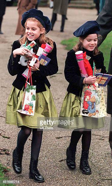 Princess Beatrice, and Princess Eugenie attend the annual Christmas Day service at Sandringham Church, on December 25 1997 in Sandringham, England.