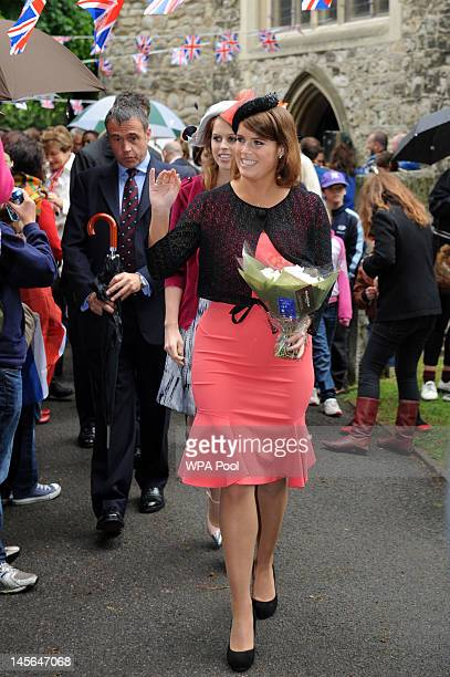 Princess Beatrice and Princess Eugenie attend the 'Big Jubilee Lunch' at All Saints Church in Fulham ahead of the Diamond Jubilee River Pageant on...