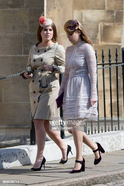 Princess Beatrice and Princess Eugenie attend the Easter Day service at St George's Chapel on April 16, 2017 in Windsor, England.