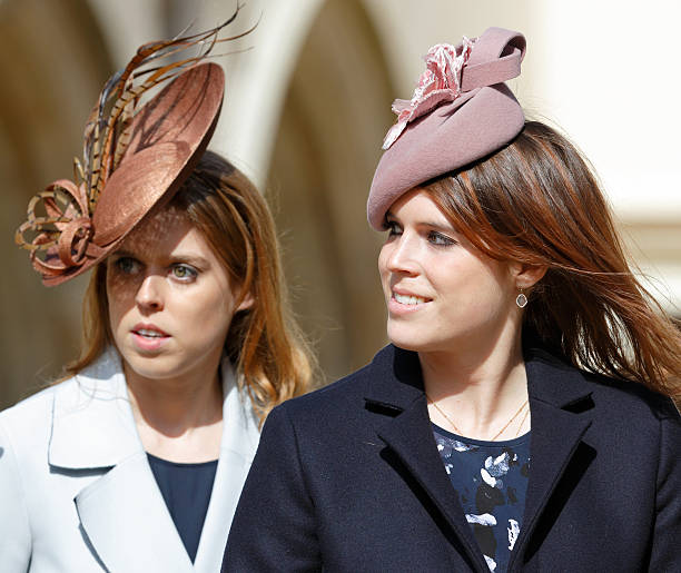 princess beatrice and princess eugenie attend the traditional easter sunday church service at st georges chapel - Traditional Castle 2016