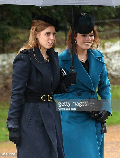 Princess Beatrice and Princess Eugenie attends a Christmas Day church service at Sandringham on December 25 2015 in King's Lynn England