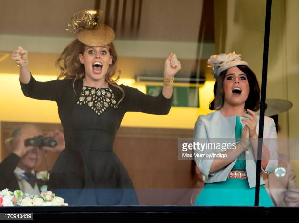 Princess Beatrice and Princess Eugenie cheer Queen Elizabeth II's horse Estimate to victory in the Gold Cup on Ladies Day of Royal Ascot at Ascot...