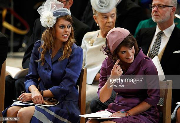 Princess Beatrice and Princess Eugenie during a service of thanksgiving to mark the Queen's Diamond Jubilee at St Paul's cathedral on June 5, 2012 in...