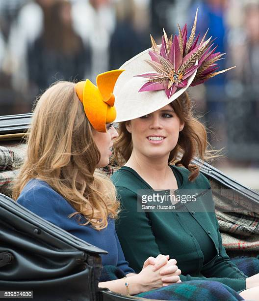 Princess Beatrice and Princess Eugenie during the Trooping the Colour, this year marking the Queen's official 90th birthday at The Mall on June 11,...
