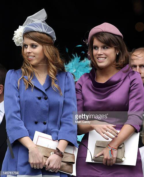 Princess Beatrice and Princess Eugenie leave a Service Of Thanksgiving at St Paul's Cathedral on June 5, 2012 in London, England. For only the second...