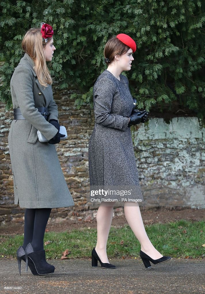 Princess Beatrice (left) and Princess Eugenie leaving the Christmas Day service at St Mary Magdalene Church on the Sandringham estate in Norfolk.
