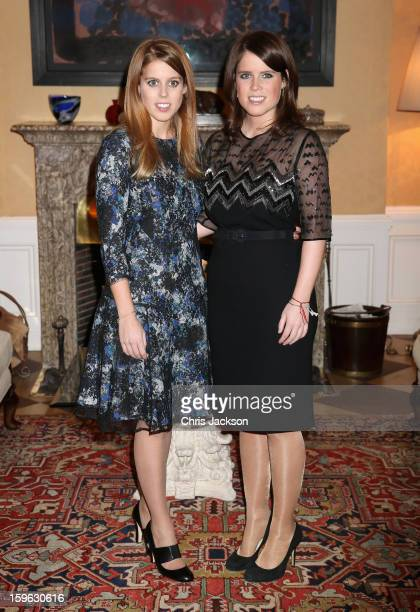 Princess Beatrice and Princess Eugenie of York pose for a photograph at the British Ambassador's Residence on January 17 2013 in Berlin Germany The...