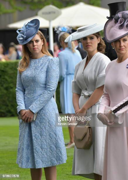 Princess Beatrice and Princess Eugenie on day 1 of Royal Ascot at Ascot Racecourse on June 19 2018 in Ascot England
