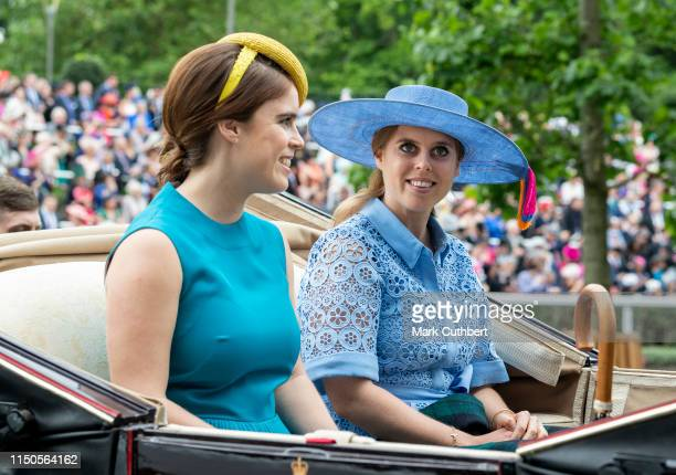 Princess Beatrice and Princess Eugenie on day one of Royal Ascot at Ascot Racecourse on June 18 2019 in Ascot England