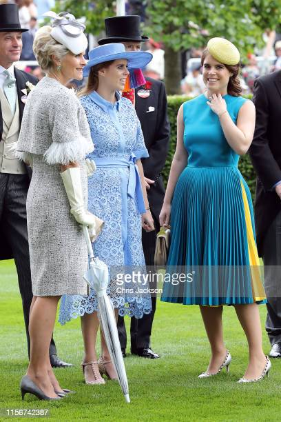 Princess Beatrice and Princess Eugenie on day one of Royal Ascot at Ascot Racecourse on June 18, 2019 in Ascot, England.