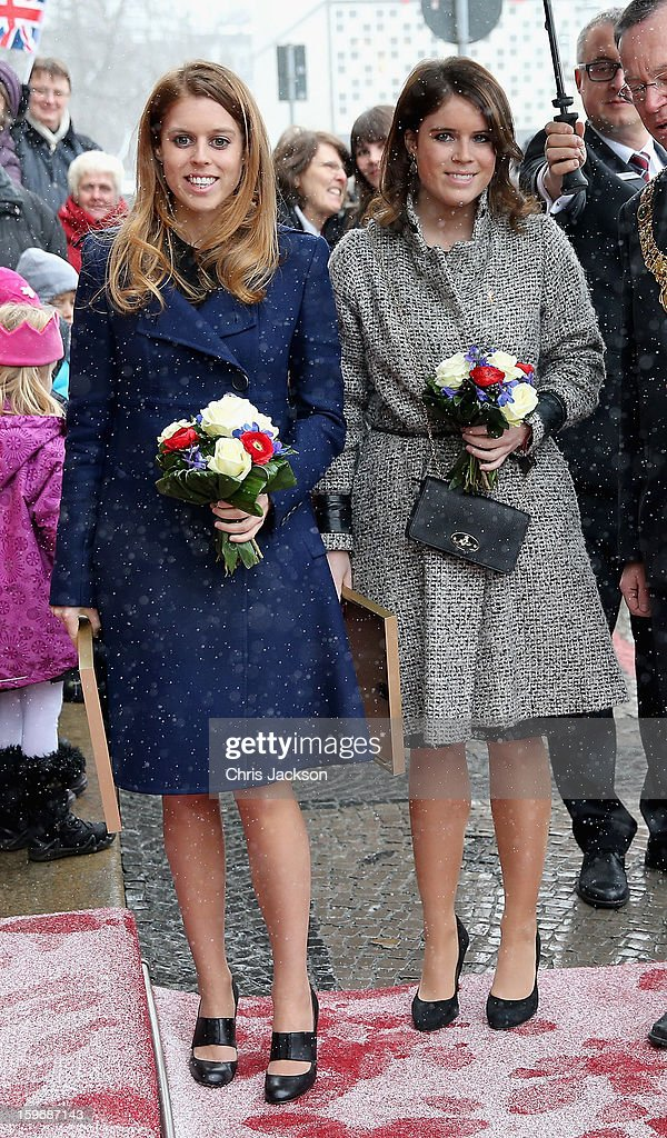 Princess Beatrice and Princess Eugenie pose as they arrive at Hanover City Hall on January 18, 2013 in Hanover, Germany. The royal sisters are in Hanover on the second day of a two day visit to Germany.Yesterday the royals were in Berlin helping support GREAT, the British Government's initiative promoting the UK abroad.