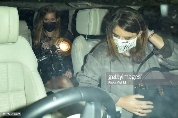 Princess Beatrice and Princess Eugenie seen on a night out at Annabel's members club in Mayfair on September 22, 2020 in London, England.