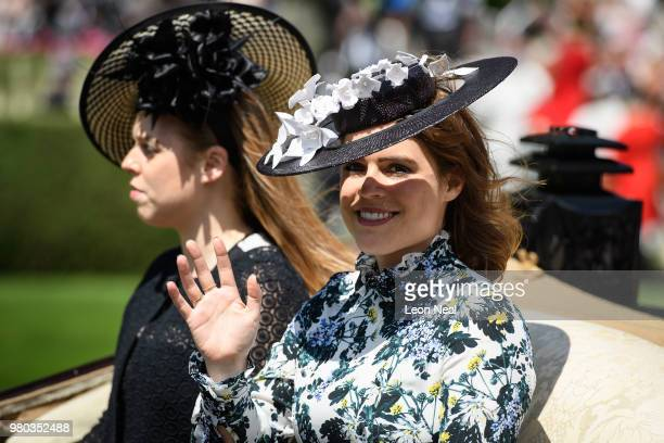 Princess Beatrice and Princess Eugenie take part in the Royal Parade during Royal Ascot Day 3 at Ascot Racecourse on June 21 2018 in Ascot United...