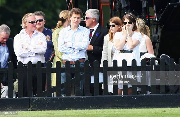Princess Beatrice and Princess Eugenie watch the polo with Dave Clark Beatrice's boyfriend at the Vivari Queens Cup Final at Guards Polo Club on June...