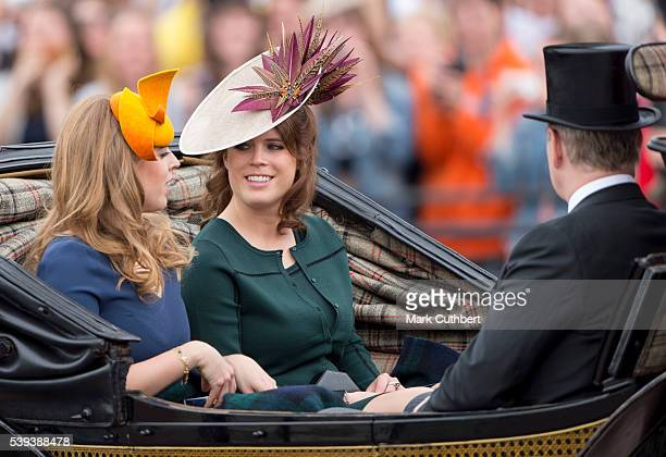 Princess Beatrice and Princess Eugenie with Prince Andrew, Duke of York during the Trooping the Colour, this year marking the Queen's 90th birthday...