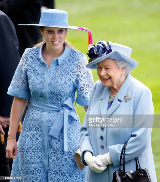Princess Beatrice and Queen Elizabeth II attend day one of Royal Ascot at Ascot Racecourse on June 18 2019 in Ascot England