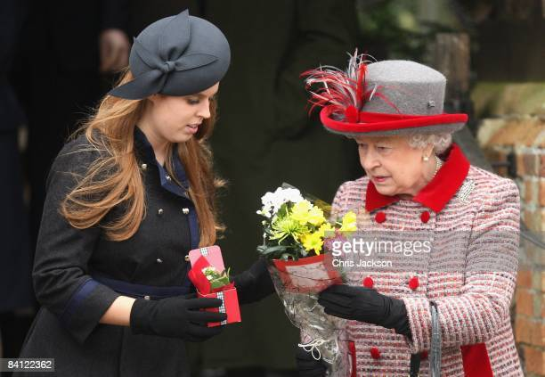 Princess Beatrice and Queen Elizabeth II attend the Christmas Day church service at St Mary's Church on December 25 2008 in Sandringham England