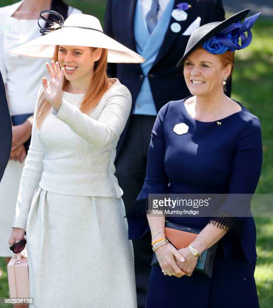Princess Beatrice and Sarah Duchess of York attend day 4 of Royal Ascot at Ascot Racecourse on June 22 2018 in Ascot England