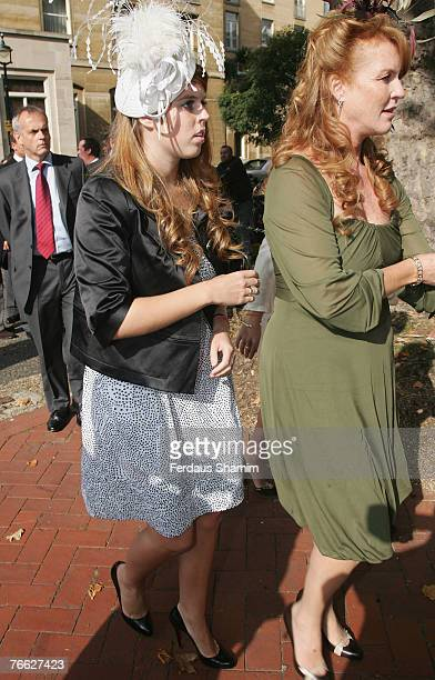 Princess Beatrice and Sarah Ferguson attend the wedding of Chloe Delevingne and Louis Buckworth on September 7 2007 in London England