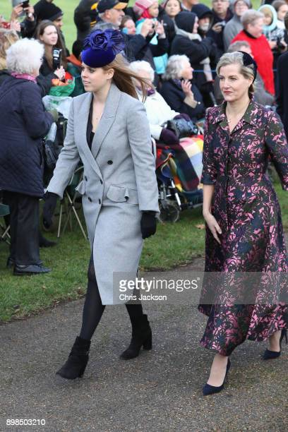 Princess Beatrice and Sophie Countess of Wessex attend Christmas Day Church service at Church of St Mary Magdalene on December 25 2017 in King's Lynn...