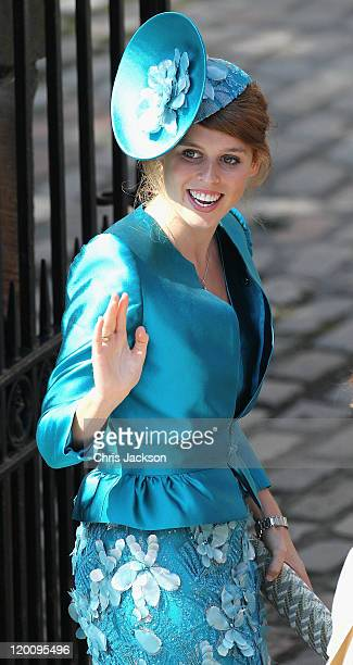 Princess Beatrice arrives at Canongate Kirk on the afternoon of the wedding of Mike Tindall and Zara Philips on July 30, 2011 in Edinburgh, Scotland....