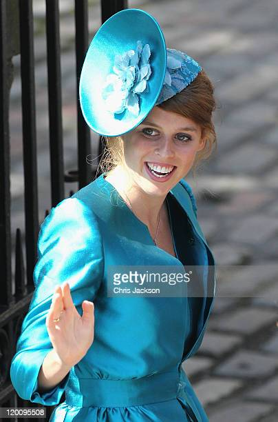 Princess Beatrice arrives at Canongate Kirk on the afternoon of the wedding of Mike Tindall and Zara Philips on July 30 2011 in Edinburgh Scotland...