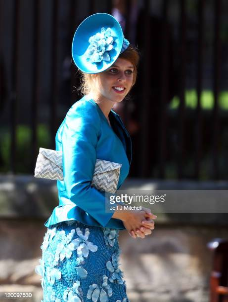 Princess Beatrice arrives for the Royal wedding of Zara Phillips and Mike Tindall at Canongate Kirk on July 30, 2011 in Edinburgh, Scotland. The...