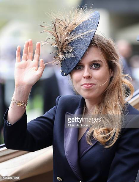 Princess Beatrice arrives in the parade ring at Royal Ascot 2016 at Ascot Racecourse on June 14 2016 in Ascot England The cake hat was commissioned...