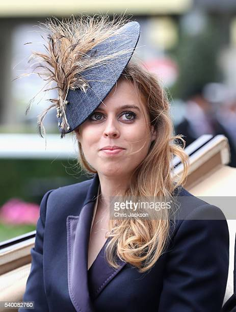 Princess Beatrice arrives in the parade ring at Royal Ascot 2016 at Ascot Racecourse on June 14, 2016 in Ascot, England. The cake hat was...
