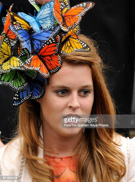 Princess Beatrice at the wedding of Peter Phillips to Autumn Kelly at St George's Chapel in Windsor Castle on May 17, 2008 in Windsor, England.