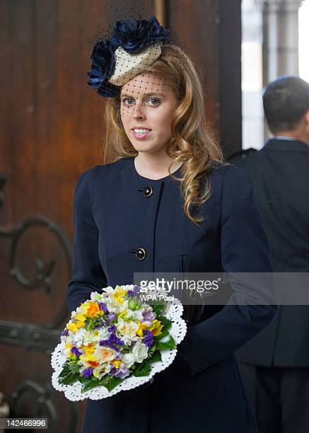 Princess Beatrice attends a Maundy Thursday Service at York Minster on April 5, 2012 in York, England. Queen Elizabeth II, Prince Philip, Duke of...