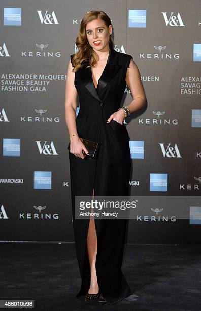 Princess Beatrice attends a private view for the Alexander McQueen Savage Beauty exhibition at Victoria Albert Museum on March 12 2015 in London...