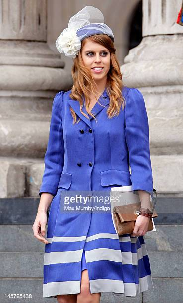 Princess Beatrice attends a Service of Thanksgiving to celebrate Queen Elizabeth II's Diamond Jubilee at St Paul's Cathedral on June 5 2012 in London...