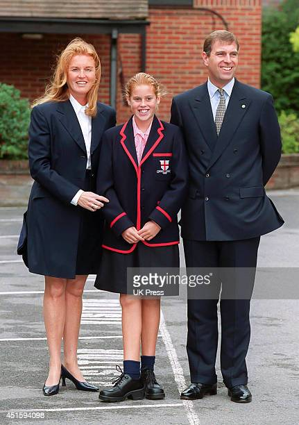 Princess Beatrice attends her first day at her new School, St George's. In Ascot, accompanied by The Duke and Duchess of York on September 6th,2000...