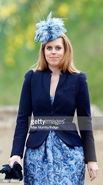 Princess Beatrice attends the Easter Matins service at St George's Chapel Windsor Castle on April 5 2015 in Windsor England