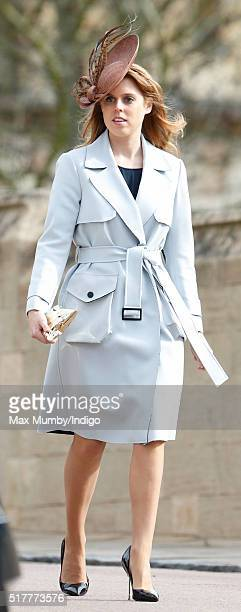 Princess Beatrice attends the traditional Easter Sunday church service at St George's Chapel Windsor Castle on March 27 2016 in Windsor England