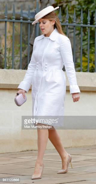 Princess Beatrice attends the traditional Easter Sunday church service at St George's Chapel Windsor Castle on April 1 2018 in Windsor England