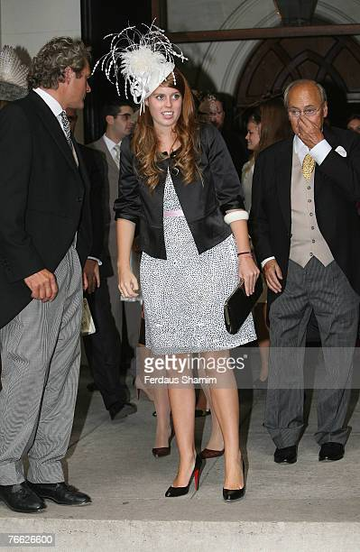 Princess Beatrice attends the wedding of Chloe Delevingne and Louis Buckworth on September 7 2007 in London England