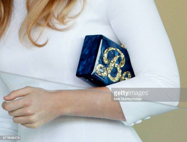 Princess Beatrice carries a personalised 'Bea' clutch bag as she attends day 3 Ladies Day of Royal Ascot at Ascot Racecourse on June 18 2015 in Ascot...