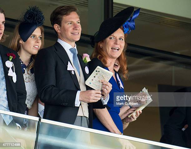 Princess Beatrice Dave Clark and Sarah Ferguson Duchess of York on day 4 of Royal Ascot at Ascot Racecourse on June 19 2015 in Ascot England