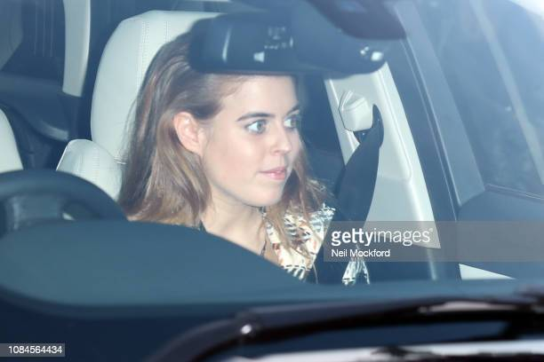 Princess Beatrice departs Buckingham Palace after the Queen's Christmas Lunch on December 19 2018 in London England