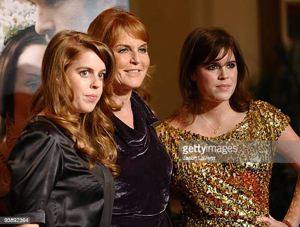 """Princess Beatrice, Dutchess of York Sarah Ferguson and princess Eugenie attends the premiere of """"The Young Victoria"""" at Pacific Theatre at The Grove..."""